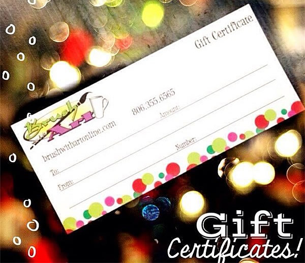 Gift Certificates for Gifts Brush with Art Amarillo Texas